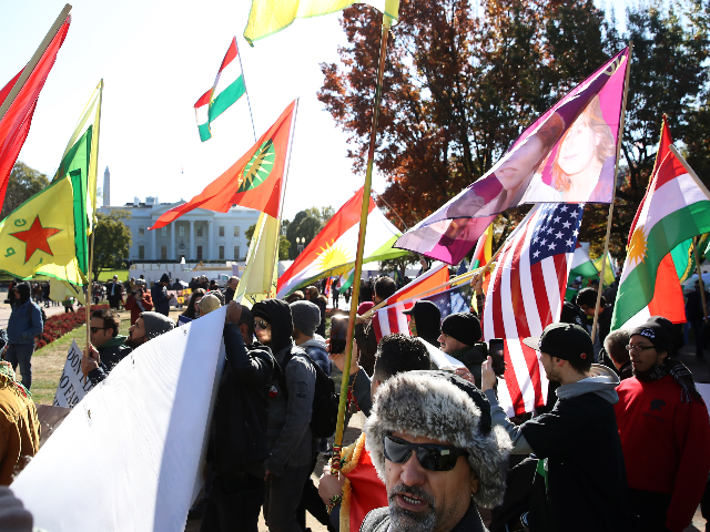 People associated with the Armenian National Committee of America gather in Lafayette Square to protest the visit of Turkish President Recep Tayyip Erdoganto the White House on November 13, 2019 in Washington, DC. President Trump is hosting President Erdogan at the White House as tensions rise during Turkey's recent push …