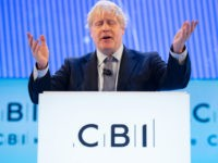 LONDON, ENGLAND - NOVEMBER 18: Prime Minister Boris Johnson makes his keynote address at the annual CBI conference on November 18, 2019 in London, England. With 24 days to go until the general election, each of the leaders of the three main parties addressed the conference, in a bid to …
