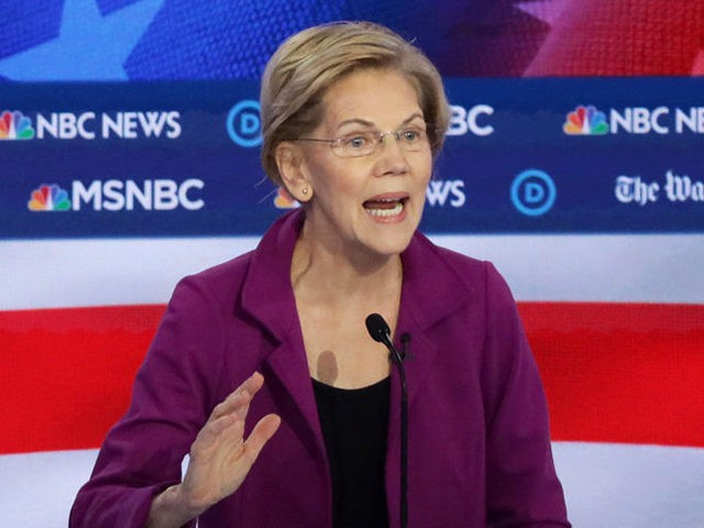 ATLANTA, GEORGIA - NOVEMBER 20: Sen. Elizabeth Warren (D-MA) speaks during the Democratic Presidential Debate at Tyler Perry Studios November 20, 2019 in Atlanta, Georgia. Ten Democratic presidential hopefuls were chosen from the larger field of candidates to participate in the debate hosted by MSNBC and The Washington Post. (Photo …
