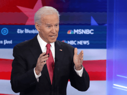 Former Vice President Joe Biden speaks during the Democratic Presidential Debate at Tyler Perry Studios November 20, 2019 in Atlanta, Georgia. Ten Democratic presidential hopefuls were chosen from the larger field of candidates to participate in the debate hosted by MSNBC and The Washington Post. (Photo by Alex Wong/Getty Images)