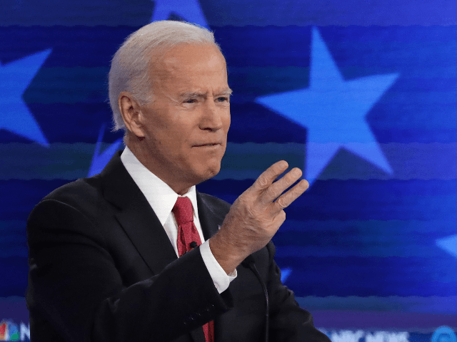 Former Vice President Joe Biden gestures during the Democratic Presidential Debate at Tyler Perry Studios November 20, 2019 in Atlanta, Georgia. Ten Democratic presidential hopefuls were chosen from the larger field of candidates to participate in the debate hosted by MSNBC and The Washington Post. (Photo by Alex Wong/Getty Images)