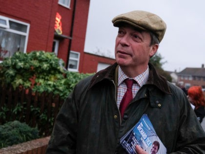HARTLEPOOL, ENGLAND - NOVEMBER 23: Brexit Party leader Nigel Farage goes door to door campaigning in Hartlepool on November 23, 2019 in Hartlepool, England. Political parties continue to campaign around the country as Britain prepares to go to the polls on December 12, 2019 to vote in a pre-Christmas general …