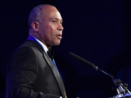WASHINGTON, DC - JUNE 22: Deval Patrick, recipient of the U.S. Senator John Heinz Award for Outstanding Public Service by an Elected or Appointed Official, speaks on stage at The Jefferson Awards Foundation 2017 DC National Ceremony at Capital Hilton on June 22, 2017 in Washington, DC. (Photo by Larry …