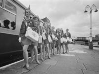 A group of 'Inter-City Girls' employed by British Rail to deal with passenger inquiries, as part of the company's latest marketing campaign for Inter-City train services, 6th May 1968. Not in order: Annette Middleton, Penny Gray, Angela Young, Kay Gill, Annabel Cholmeley, Sue Cameron, Sue Ann White, Veronica Cross, Gillian …