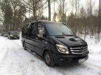 Black taxi minivans leave the Finnish government's Königstedt Manor, venue for various state negotiations and receptions in Riipilä, Vantaa, Finland, on March 20, 2018. A senior North Korean diplomat arrived on March 18 in Finland for talks with US and South Korean officials on a mooted nuclear summit between the …