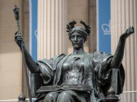 New York, NY – May 11, 2018: Alma Mater statue outside of Columbia University library