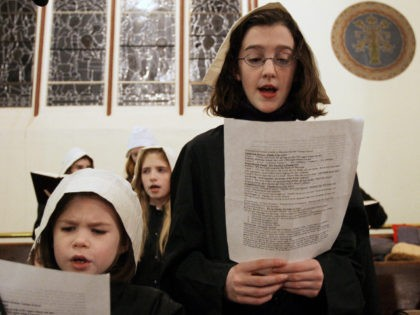 Girls dressed as Pilgrims