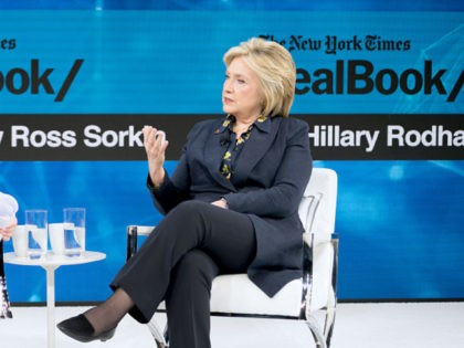 NEW YORK, NEW YORK - NOVEMBER 06: Andrew Ross Sorkin, Editor at Large, Columnist and Founder, DealBook, The New York Times speaks with Hillary Rodham Clinton, Former First Lady, U.S. Senator, U.S. Secretary of State onstage at 2019 New York Times Dealbook on November 06, 2019 in New York City. …