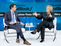 Andrew Ross Sorkin, Editor at Large, Columnist and Founder, DealBook, The New York Times speaks with Hillary Rodham Clinton, Former First Lady, U.S. Senator, U.S. Secretary of State onstage at 2019 New York Times Dealbook on November 06, 2019 in New York City. (Photo by Michael Cohen/Getty Images for The …