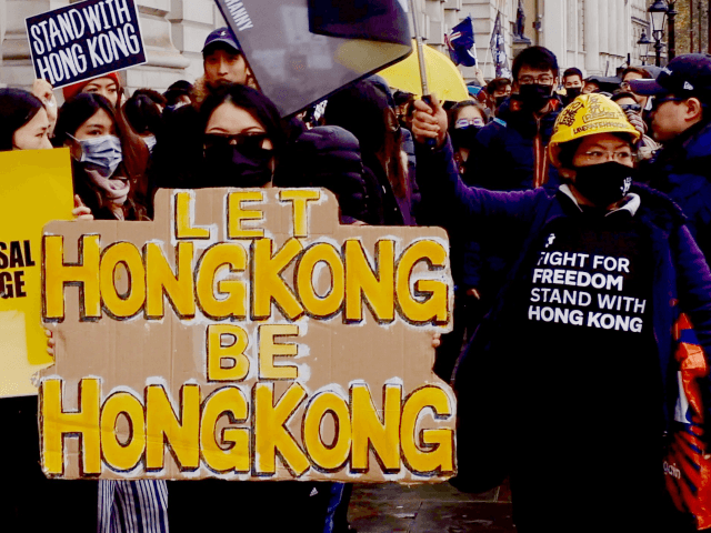 #standwithHongKong protesters marching in London on Saturday, November 23rd, 2019. Protesters marched in solidarity with their friends and relatives back home and to condemn the violence perpetrated by the Hong Kong police and the Chinese Communist Party (CCP). Image credit: Kurt Zindulka/Breitbart News