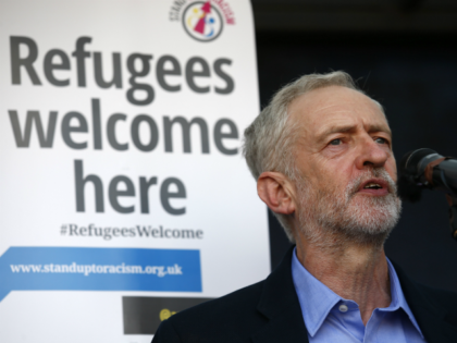Newly elected leader of Britain's opposition Labour party, Jeremy Corbyn, address a rally pro-refugee rally in central London on September 12, 2015, following the announcement he had been nominated as the party's new leader. Anti-austerity leftwinger Jeremy Corbyn was elected leader of Britain's opposition Labour Party in a landslide victory …