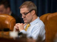 WASHINGTON, DC - NOVEMBER 20: Rep. Jim Jordan (R-OH) listens as Gordon Sondland, the U.S ambassador to the European Union, testifies before the House Intelligence Committee in the Longworth House Office Building on Capitol Hill November 20, 2019 in Washington, DC. The committee heard testimony during the fourth day of …