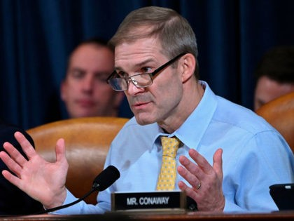 Representative Jim Jordan, Republican of Ohio, asks questions of witnesses US Ambassador to Ukraine William Taylor and Deputy Assistant Secretary George Kent during the first public hearings held by the House Permanent Select Committee on Intelligence as part of the impeachment inquiry into US President Donald Trump, on Capitol Hill …