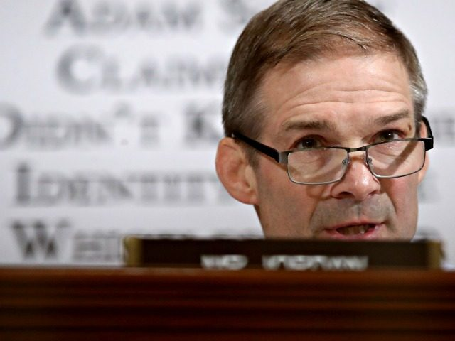 WASHINGTON, DC - NOVEMBER 20: Rep. Jim Jordan (R-OH) questions Gordon Sondland, the U.S ambassador to the European Union, during Sondland's appearance before the House Intelligence Committee in the Longworth House Office Building on Capitol Hill November 20, 2019 in Washington, DC. The committee heard testimony during the fourth day …