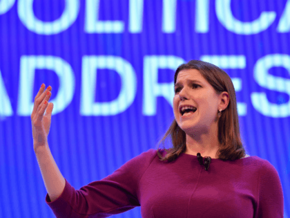Britian's opposition Liberal Democrats leader Jo Swinson speaks at the annual Confederation of British Industry (CBI) conference in central London, on November 18, 2019. (Photo by Ben STANSALL / AFP) (Photo by BEN STANSALL/AFP via Getty Images)