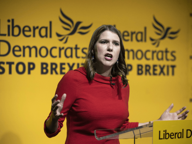 LONDON, ENGLAND - JULY 22: New Liberal Democrat leader Jo Swinson addresses the audience onstage at Proud Embankment on July 22, 2019 in London, England. Former deputy Jo Swinson has been named as the new leader of the Liberal Democrats, replacing Sir Vince Cable. Swinson beat fellow candidate Ed Davey …