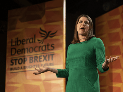 LONDON, ENGLAND - NOVEMBER 20: Liberal Democrats leader Jo Swinson launches the Liberal Democrat election manifesto at FEST Camden on November 20, 2019 in London, England. The Liberal Democrats election manifesto includes plans to halt Brexit and invest the £50 million remain bonus in public services. They also plan to …