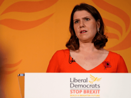 Britain's opposition Liberal Democrats party Leader, Jo Swinson, speaks during an event to launch the Liberal Democrat 2019 General Election campaign, in central London on November 5, 2019. - Britain goes to the polls on December 12 to vote in a pre-Christmas general election. (Photo by Niklas HALLE'N / AFP) …