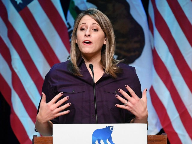 Democrat Katie Hill who is running for Congress in California's 25th District, speaks at a campaign rally before the mid-term elections in Santa Clarita, California on November 3, 2018. - She will run against Republican incumbent Steve Knight. (Photo by Mark RALSTON / AFP) (Photo credit should read MARK RALSTON/AFP …