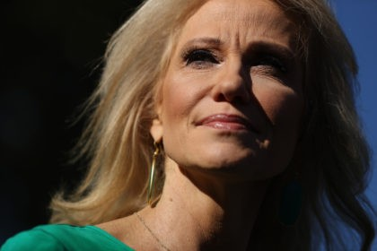 WASHINGTON, DC - NOVEMBER 01: Kellyanne Conway, counselor to President Donald Trump, talks to reporters on the driveway outside of the White House November 01, 2019 in Washington, DC. Conway fielded questions about the ongoing impeachment inquiry, Trump's decision to become a resident of Florida and a potential visit to …