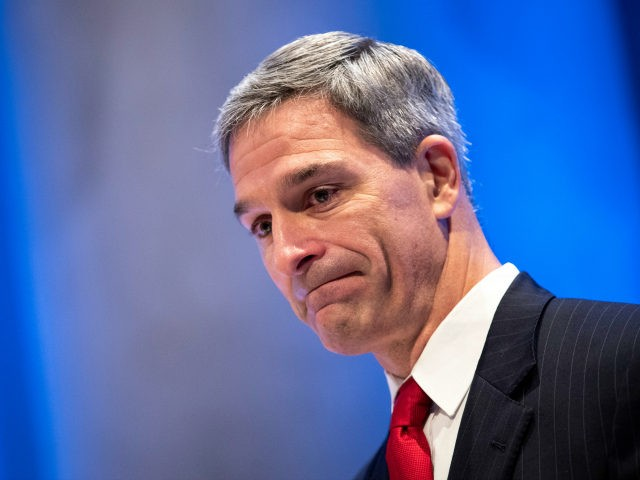 Acting Director of the U.S. Citizenship and Immigration Services (USCIS) Ken Cuccinelli pauses while speaking during a naturalization ceremony inside the National September 11 Memorial Museum on July 2, 2019 in New York City. 52 new U.S. citizens attended the Tuesday morning ceremony. USCIS is marking the Independence Day holiday …