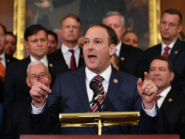 Rep. Lee Zeldin (R-NY) speaks during a press conference on the impeachment process in the Rayburn Room of the US Capitol in Washington, DC on October 31, 2019. (Photo by MANDEL NGAN / AFP) (Photo by MANDEL NGAN/AFP via Getty Images)