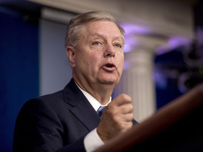 Sen. Lindsey Graham, R-S.C., speaks in the Briefing Room of the White House in Washington, Sunday, Oct. 27, 2019, following an announcement from President Donald Trump that Islamic State leader Abu Bakr al-Baghdadi has been killed during a US raid in Syria. (AP Photo/Andrew Harnik)