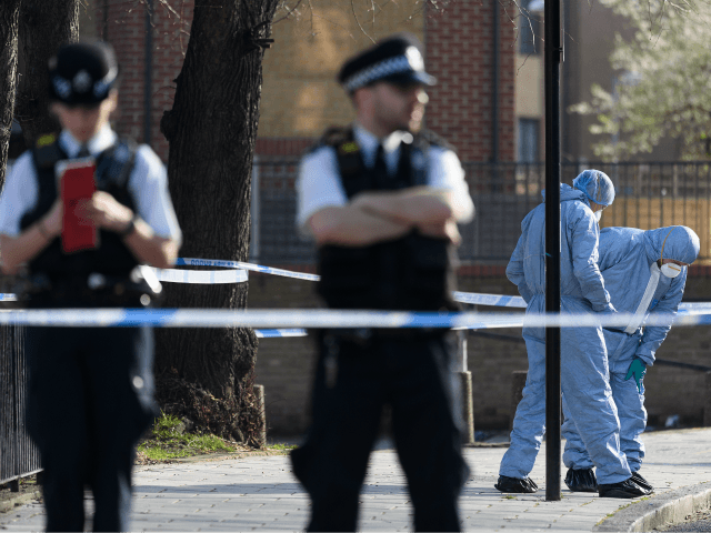 LONDON, ENGLAND - FEBRUARY 22: Forensic police officers attend the Marcus Lipton Youth Club in Minet Road, southwest London after a 23-year-old man was fatally stabbed yesterday on February 22, 2019 in London, England. No-one has yet been arrested in connection with the latest murder. (Photo by Leon Neal/Getty Images)
