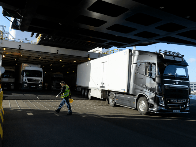 PORTSMOUTH, ENGLAND - JANUARY 08: A lorry carrying freight cargo disembarks from a Brittany Ferries service from Caen to Portsmouth International Ferry Port on January 08, 2019 in Portsmouth, England. Leader of the Liberal Democrats Vince Cable has visited Portsmouth International Ferry Terminal to hear how a no-deal Brexit may …