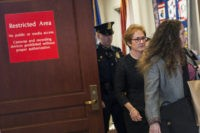 WASHINGTON, DC - OCTOBER 11: Former U.S. Ambassador to Ukraine Marie Yovanovitch exits the restricted area of the U.S. Capitol on October 11, 2019. The House Intelligence, House Foreign Affairs and House Oversight and Reform Committee heard a closed door deposition from the former U.S. Ambassador to Ukraine Marie Yovanovitch …