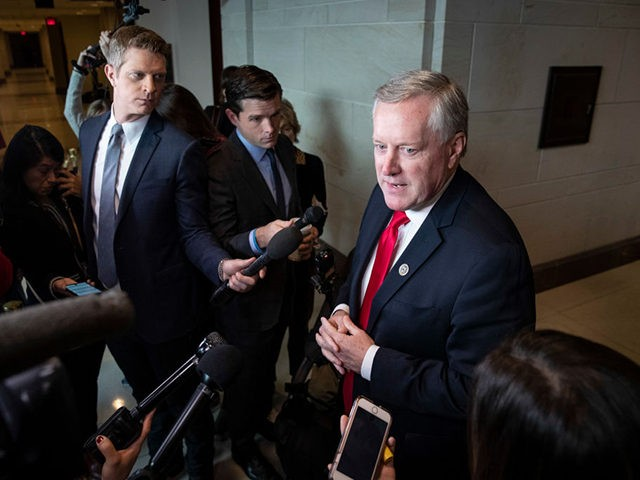 WASHINGTON, DC - NOVEMBER 4: U.S. Rep. Mark Meadows (R-NC) speaks to reporters about closed-door depositions with the House Intelligence, Foreign Affairs and Oversight committees at the U.S. Capitol on November 4, 2019 in Washington, DC. Four White House officials scheduled for depositions in the impeachment inquiry on Monday have …
