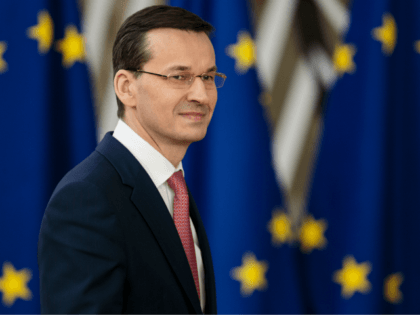 BRUSSELS, BELGIUM - MARCH 22: Polish Prime Minister Mateusz Morawiecki arrives at the Council of the European Union for the first day of the European Council leaders' summit on March 22, 2018 in Brussels, Belgium. European Union leaders meet today for the two-day European Council. The agenda will include discussion …