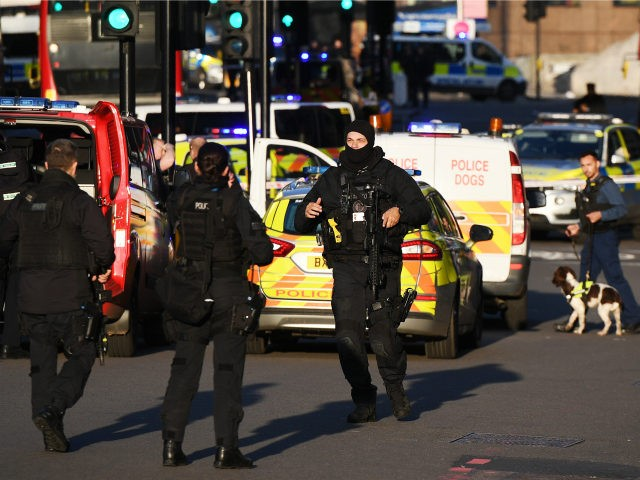 Metropolitan Police Armed Response officers gather near Borough Market after reports of shots being fired on London Bridge on November 29, 2019 in London, England. Police responded to an incident around 2:00 pm local time, followed by reports of gunfire. [Photo by Chris J Ratcliffe/Getty Images)