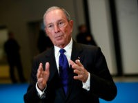 Special envoy to the United Nations for climate change Michael Bloomberg dresses the medias at the One Planet Summit, in Boulogne-Billancourt, near Paris, France, Tuesday, Dec. 12, 2017. World leaders, investment funds and energy magnates promised to devote new money and technology to slow global warming at a summit in …