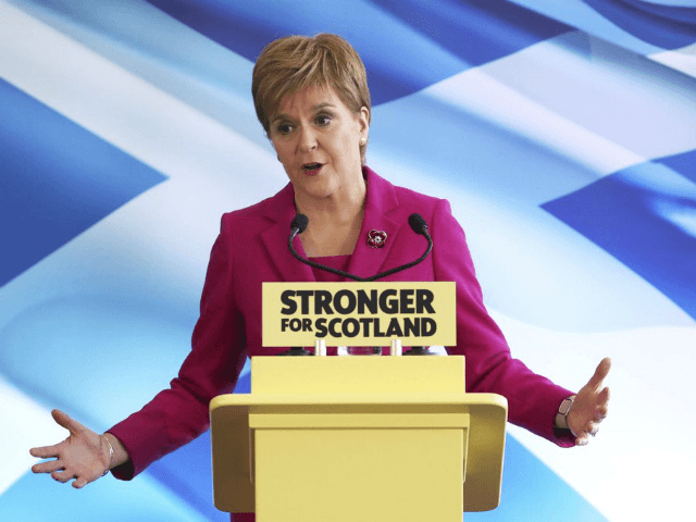 Scottish National Party (SNP) leader Nicola Sturgeon speaks at the launch of the party's General Election campaign, in Edinburgh, Scotland, Friday Nov. 8, 2019. The Scottish National Party is officially launching its campaign for Britain's upcoming Dec. 12 election, with the SNP hoping to put Scotland a step closer to …