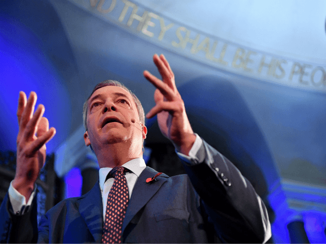 Brexit Party leader Nigel Farage speaks at an event to introduce their Prospective Parliamentary Candidates (PPC) for the 2019 general election in London on November 4, 2019. - Britain goes to the polls on December 12 to vote in a pre-Christmas general election. (Photo by Ben STANSALL / AFP) (Photo …