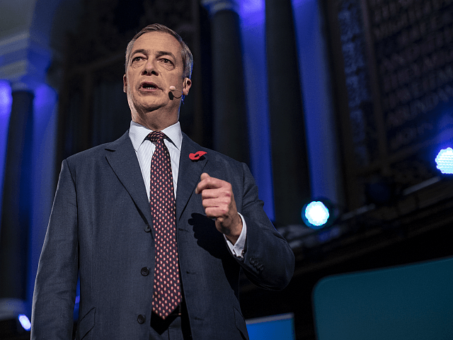 LONDON, ENGLAND - NOVEMBER 04: Brexit Party leader Nigel Farage speaks ahead of Brexit Party members being introduced on November 4, 2019 in London, England. The Brexit party plans to contest 600 seats in Britain's December 12 general election, although Nigel Farage himself will not be standing for election. (Photo …