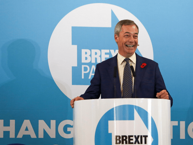 Brexit Party leader Nigel Farage speaks during a general election campaign visit to Pontypool in south Wales on November 8, 2019. - Britain goes to the polls on December 12 to vote in a pre-Christmas general election. (Photo by GEOFF CADDICK / AFP) (Photo by GEOFF CADDICK/AFP via Getty Images)
