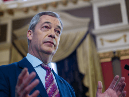HARTLEPOOL, ENGLAND - NOVEMBER 11: Brexit Party leader Nigel Farage speaks during the Brexit Party general election campaign tour at the Best Western Grand Hotel on November 11, 2019 in Hartlepool, England. During his speech, Farage announced that his party will not stand in 317 seats won by the Conservative …