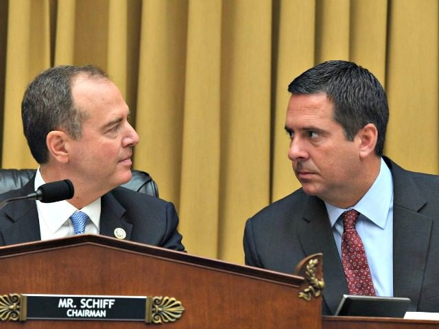 House Intelligence Committee Chairman Adam Schiff, left, speaks with ranking member Devin Nunes at the hearing.JIM WATSON/AGENCE FRANCE-PRESSE/GETTY IMAGES