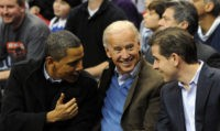 WASHINGTON - JANUARY 30: (AFP OUT) U.S. President Barack Obama (L) greets Vice President Joe Biden (C) and his son Hunter Biden as they attend the game between the Duke Blue Devils and Georgetown Hoyas on January 30, 2010 at the Verizon Center in Washington, DC. (Photo by Alexis C. …