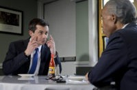 Democratic presidential candidate Mayor Pete Buttigieg (L) of South Bend, Indiana and civil rights leader Rev. Al Sharpton (R), President of National Action Network, hold a lunch meeting at Sylvias Restaurant in Harlem, New York, Monday, April 29, 2019. (Photo by Bebeto Matthews / POOL / AFP) (Photo credit should …