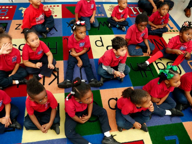 In this Tuesday, Dec. 18, 2018 photo, students participate in a pre-kindergarten class at Alice M. Harte Charter School in New Orleans. Charter schools, which are publicly funded and privately operated, are often located in urban areas with large back populations, intended as alternatives to struggling city schools. (AP Photo/Gerald …