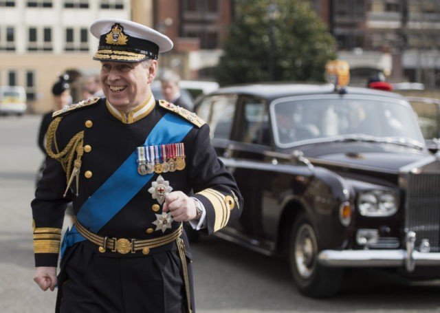 LONDON, ENGLAND - MARCH 13: Prince Andrew, Duke of York arrives for a reception at the Honourable Artillery Company following the Afghanistan service of commemoration at St Paul's Cathedral on March 13, 2015 in London, England. (Photo by Niklas Halle'n - WPA Pool / Getty Images)