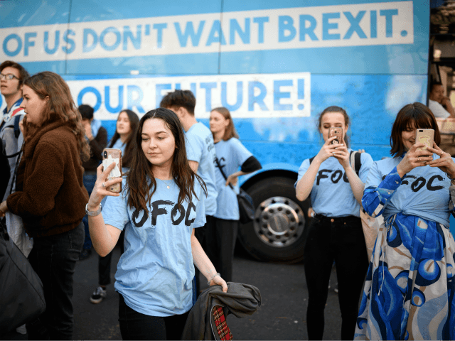 "LONDON, ENGLAND - FEBRUARY 27: Students and young people gather in Smith Square during an ""Our Future, Our Choice"" event to raise awareness of the desire for a further referendum on the future of Britain's membership of the European Union, on February 27, 2019 in London, England. Campaigning on the …"