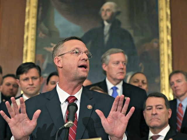 WASHINGTON, DC - OCTOBER 31: Rep. Doug Collins (R-GA) (C), speaks during a news conference after the close of a vote by the U.S. House of Representatives on a resolution formalizing the impeachment inquiry centered on U.S. President Donald Trump October 31, 2019 in Washington, DC. The resolution, passed by …