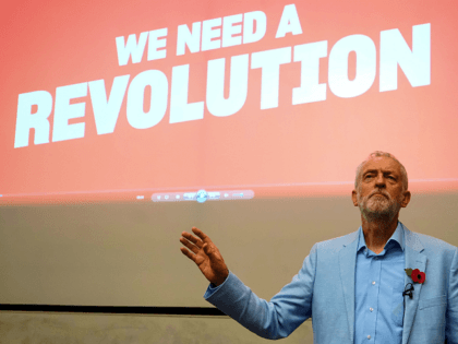 Britain's Labour Party leader Jeremy Corbyn joins the local campaign launch event in Gloucester, at University of Gloucestershire Oxstalls Campus, on November 2, 2019 during a general election campaign tour of South West England. - Britain will go to the polls on December 12 to vote in a pre-Christmas general …