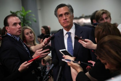 WASHINGTON, DC - MAY 21: U.S. Sen. Mitt Romney (R-UT) speaks to members of the media after a closed briefing for Senate members May 21, 2019 on Capitol Hill in Washington, DC. Secretary of State Mike Pompeo, Acting Defense Secretary Patrick Shanahan and Chairman of Joint Chiefs of Staff Joseph …