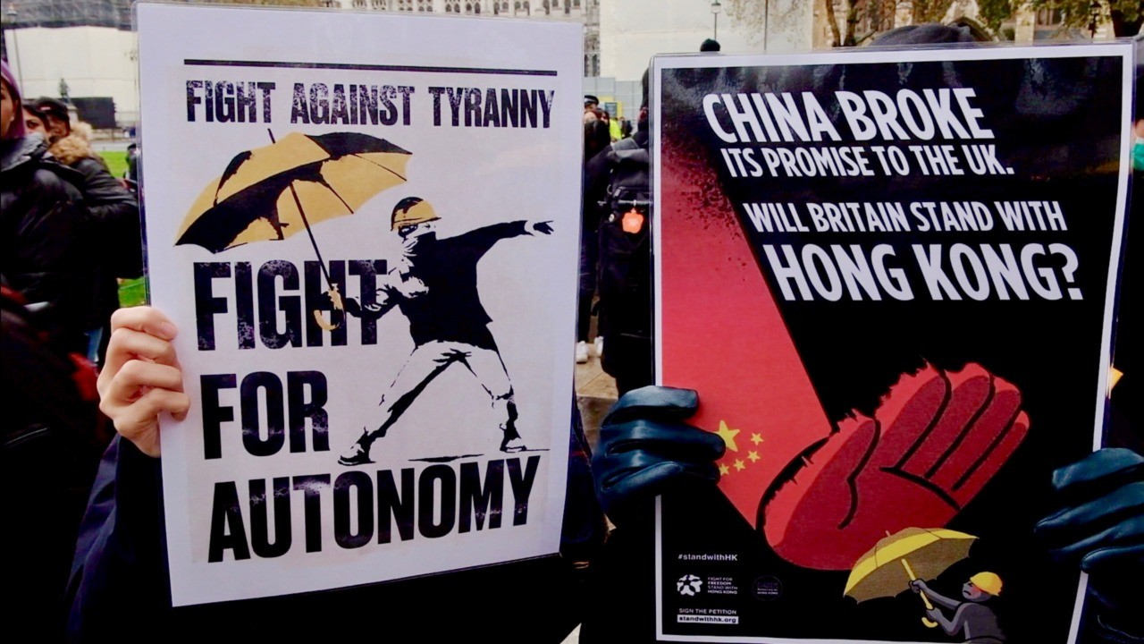 #standwithHongKong protesters marched in London on Saturday, November 23rd, 2019 in solidarity with their friends and relatives back home and to condemn the violence perpetrated by the Hong Kong police and the Chinese Communist Party (CCP). Image credit: Kurt Zindulka/Breitbart News