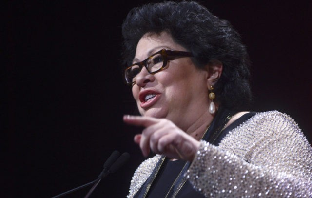WASHINGTON, DC - SEPTEMBER 22: Supreme Court Justice Sonia Sotomayor receives the Leadership Award during the 29th Hispanic Heritage Awards at the Warner Theatre on September 22, 2016 in Washington, DC. (Photo by Leigh Vogel/Getty Images)